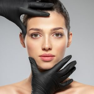 Doctor checks a skin before plastic surgery. Face skin check b